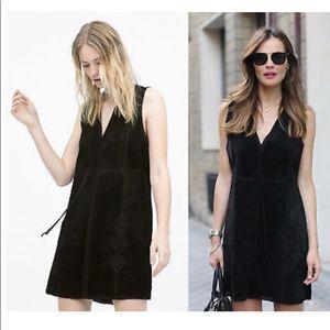Zara real leather dress